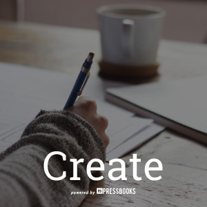 A photograph of a person writing on a desk with a cup of coffee in the background, and the word 'create'.