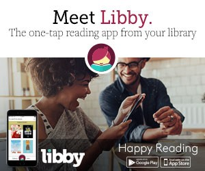An image of two people smiling and reading a tablet, advertising the program 'Libby' and their logo.