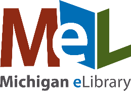 The red, blue, and green logo of the Michigan Electronic Library or MEL.