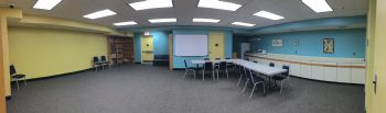 Panoramic image of the lower level conference room.