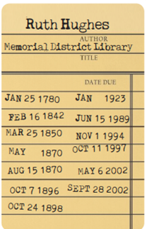 Ruth Hughes library card-styled after a retro due date card with multiple stamp dates.